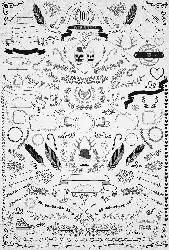 60% OFF! 100 Hand Sketched Elements