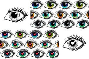 Eyes Icons + Seamlesses
