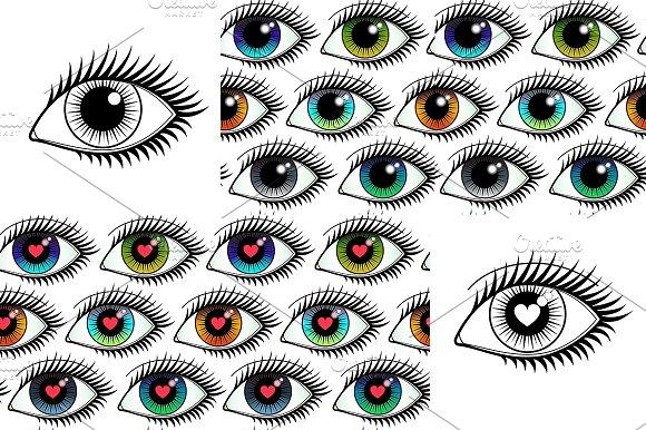 Eyes Icons + Seamlesses