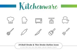 34 Kitchenware Outline Stroke Icon