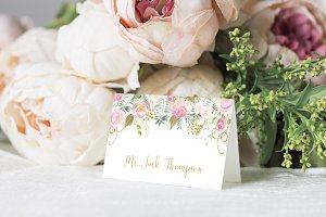Pink & Gold Editable Place Cards