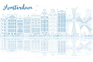 Outline Amsterdam skyline