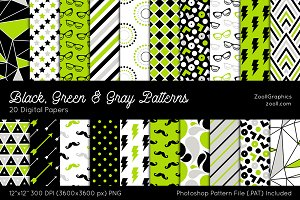 Black, Green & Gray Digital Papers