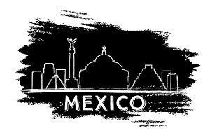 Mexico Skyline Silhouette.