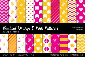 Nautical Orange Pink Digital Papers
