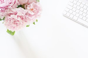 Peonies Styled Stock Desk Photo