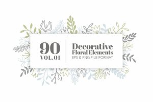 90 Decorative Floral Elements Vol.01