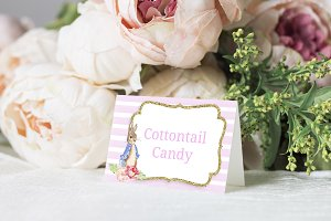 Pink Bunny Editable Tent Cards