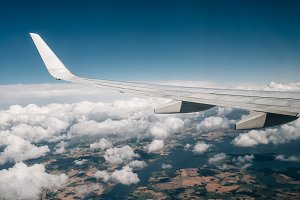 Airplane Wing and Landscape