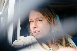 Portrait of woman in camper van