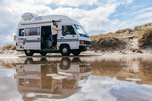 Camper van in dune landscape