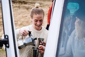 Preparing coffee on a road trip