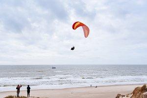Paragliding on the beach in Denmark