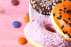 Donuts of colors and flavors