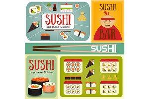 Sushi Bar Posters Set
