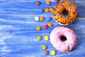 Donuts on blue table