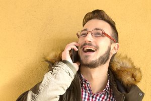hipster man with cellphone