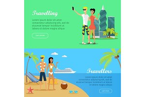 People on Vacation Conceptual Flat Vector Banners