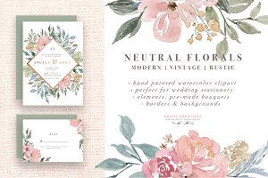 Neutral Watercolor Flower Graphics