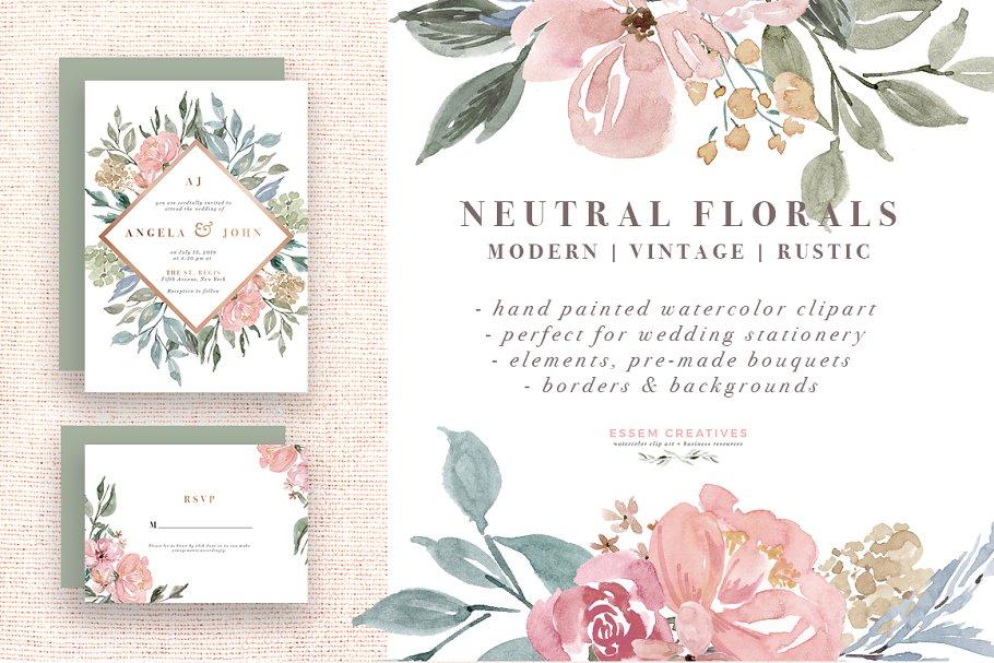 9c362fc7f3e Neutral Watercolor Flower Graphics ~ Illustrations ~ Creative Market