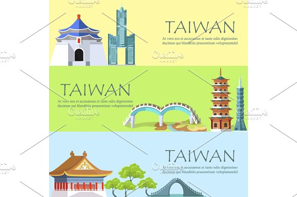 Taiwan Colorful Poster With Asian Attractions
