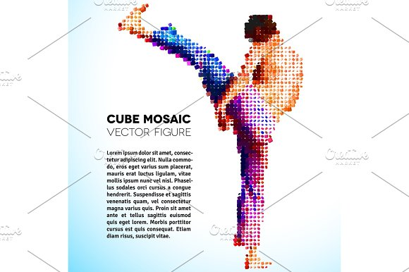 Mosaic Vector Sportsman Made Of Cubes