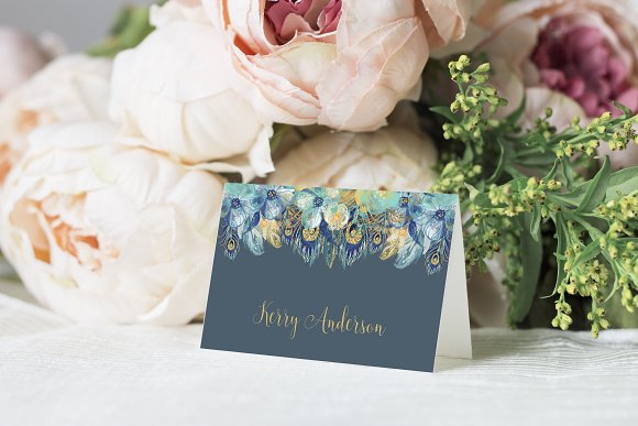 Peacock Place Cards Editable