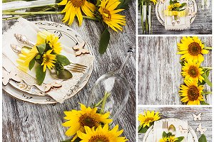 Tableware and sunflowers