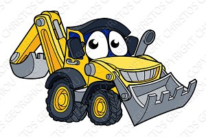 Digger Bulldozer Cartoon Character
