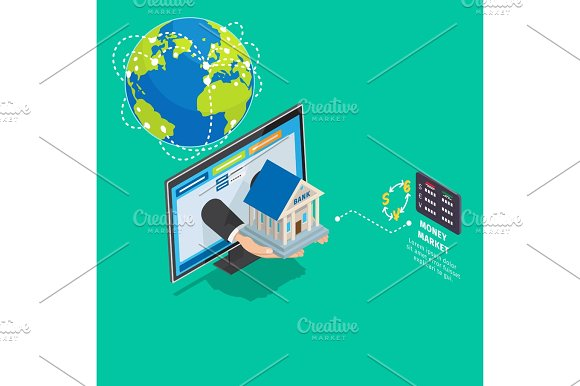 Global Online Banking Service Isometric Concept