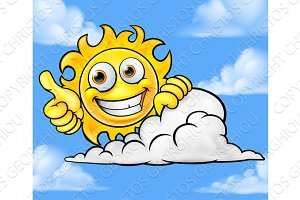 Sun Cartoon Mascot Cloud Background