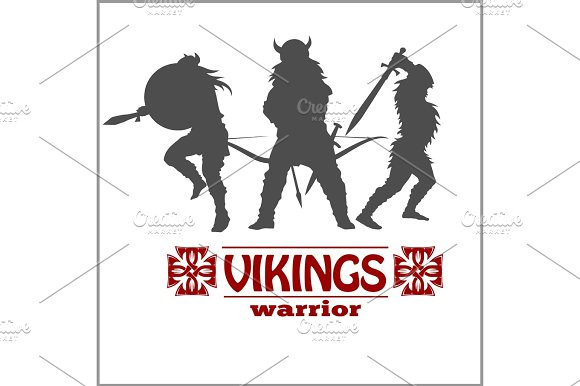 Silhouettes Of The Vikings Vector Set