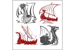Vikings Ships - vector set on white background