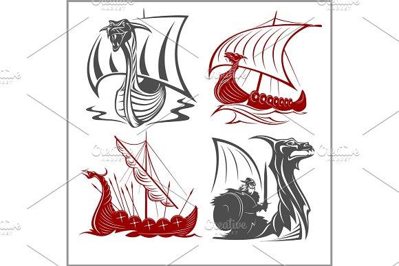 Vikings Ships Vector Set On White Background