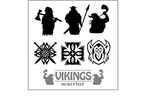 Silhouettes of the Vikings, vector set