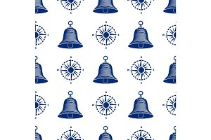 Ship helm seamless pattern marine boat wheel.