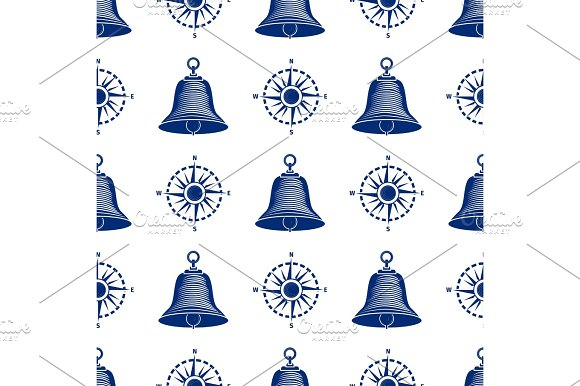 Ship Helm Seamless Pattern Marine Boat Wheel