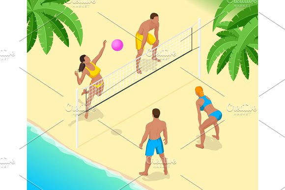 Beach Volley Ball Player Jumps On The Net And Tries To Blocks The Ball Summer Active Holiday Concept Vector Isometric Illustration