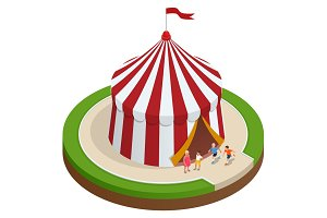 Isometric Circus tent and children. Vector illustration