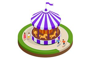 Isometric Childrens carousel with horses isolated. Vector illustration. Colorful children s carousel.