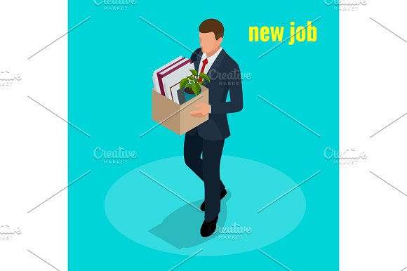 New Job Concept People Isometric Vector 3D Office Workers And Subordinates Isolated Man Going To The New Job With Box Welcome To The New Job Business Concept