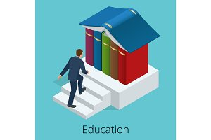 A man climbs the stairs to knowledge. Books are the source of knowledge. Training concept. Vector isometric illustration