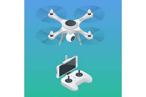 Isometric Radio-controlled drone. Innovation video and photography equipment. Vector illustration