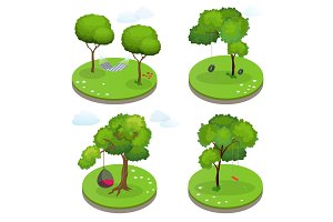 Isometric Rope Hammock between two trees, Hammock Chair, Swing and Swing tire. Flat vector illustration.