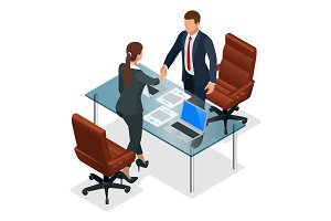 Businesspeople handshaking after negotiation or interview at office. Productive partnership concept. Constructive Business Confrontation isometric vector illustration