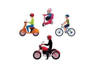 People riding bicycle, scooter, motorcycle, urban lifestyle, motor transport concept