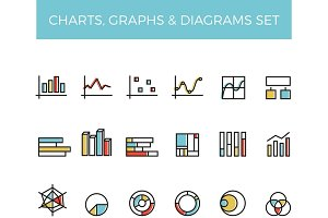 Diagram and graphs color line icons