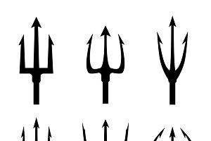 Black trident silhouette vector set