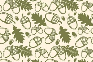 Oak tree vector seamless pattern