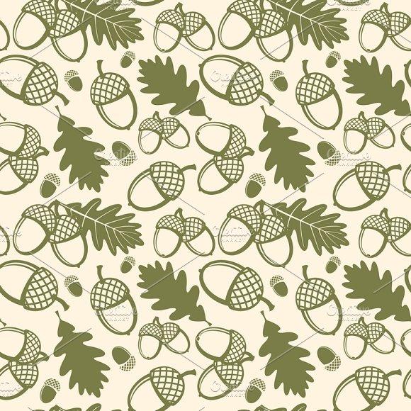 Oak Tree Vector Seamless Pattern